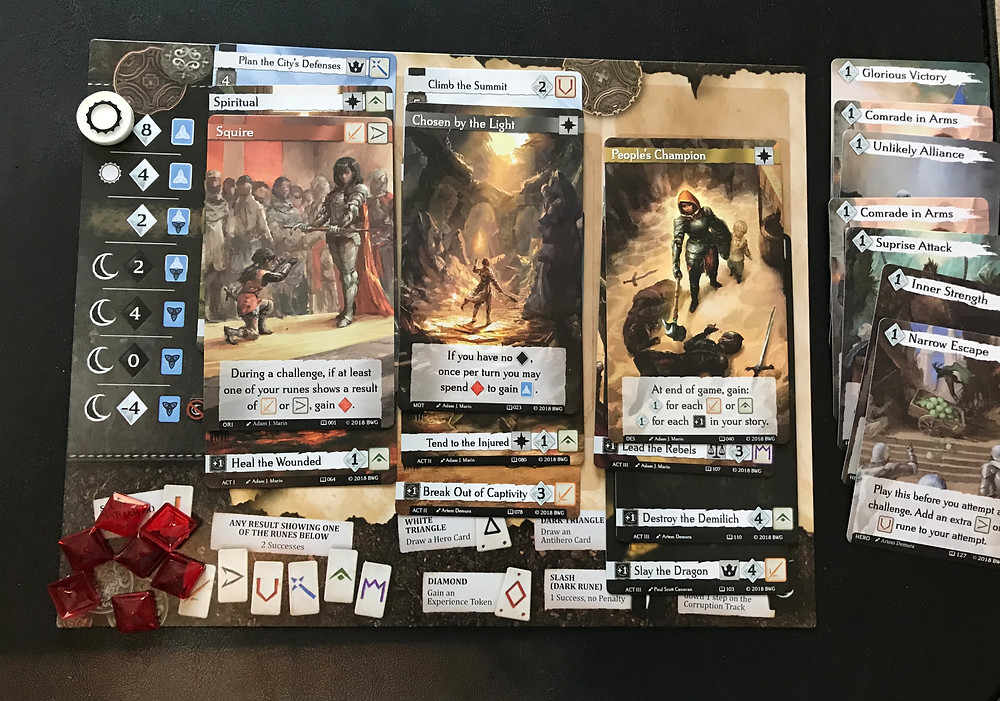 You can also see her stack of hero cards off to the side, and all the experience points she earned along the way. She probably should have used Chosen by the Light to turn more of those experience points into hero cards!