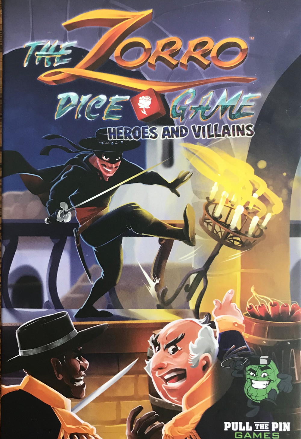 The Zorro Dice Game Heroes and Villains expansion box