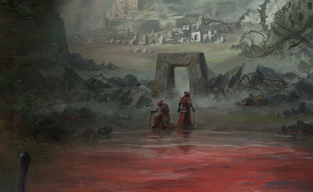 Two red-robed figures perform a ritual on the shore of a blood-red lake, while abandoned ruins litter hillside behind them.