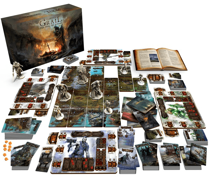An image of all of components in the Tainted Grail: The Fall of Avalon box, from the Kickstarter page. There are some slight changes in the final design, as this image came from the Kickstarter page while the game was still in pre-production.