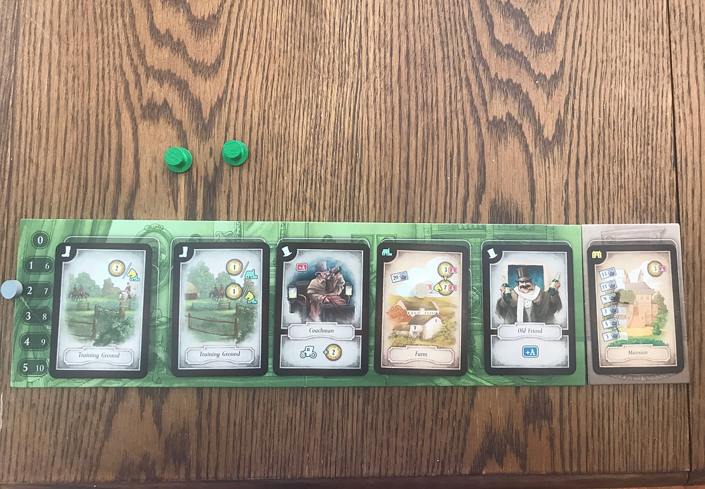 A player board displaying cards from mid-way through the game