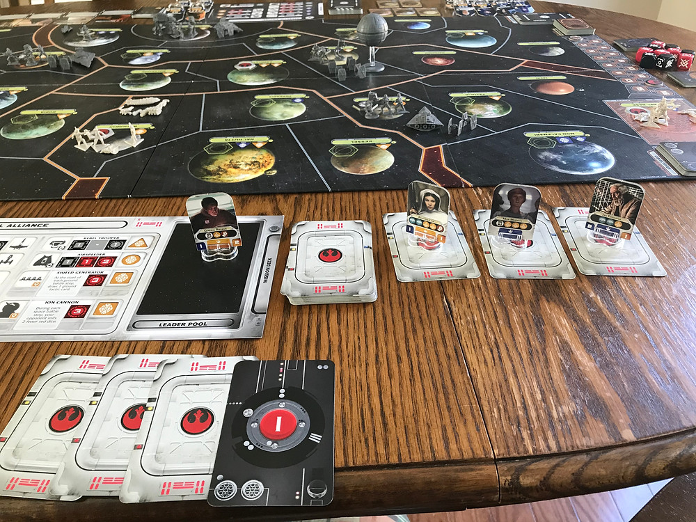 This is a pretty standard opening play for the Rebels. With only one fleet, you only need one leader to move them. And the Empiret often spreads out early in the game because their mission cards are generally weaker early in the game, so the Rebels don't need to worry as much about opposing.