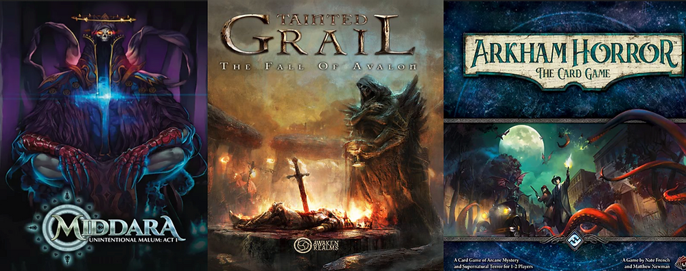The box art for Middara, Tainted Grail, and Arkham Horror: The Card Game