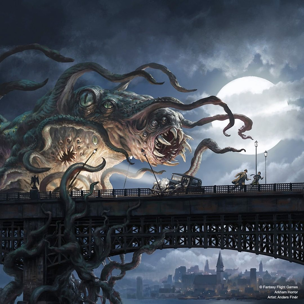 A massive, many-eyed, tentacled horror coils around a bridge strut and reaches out towards two humans who are running away after crashing their car into a lightpost in fright.