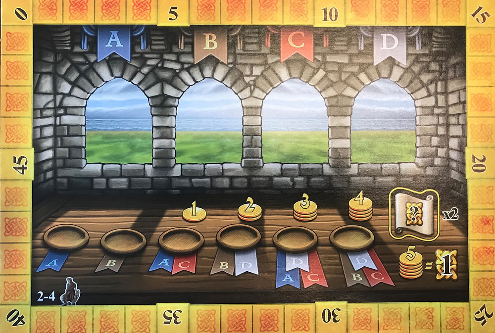 The six bowls represent the six rounds. Each scoring tile will be dealt into one of the four windows. In later rounds, each player gets bonus cash based on their position relative to the player in the lead. It's a very effective catch-up mechanic!