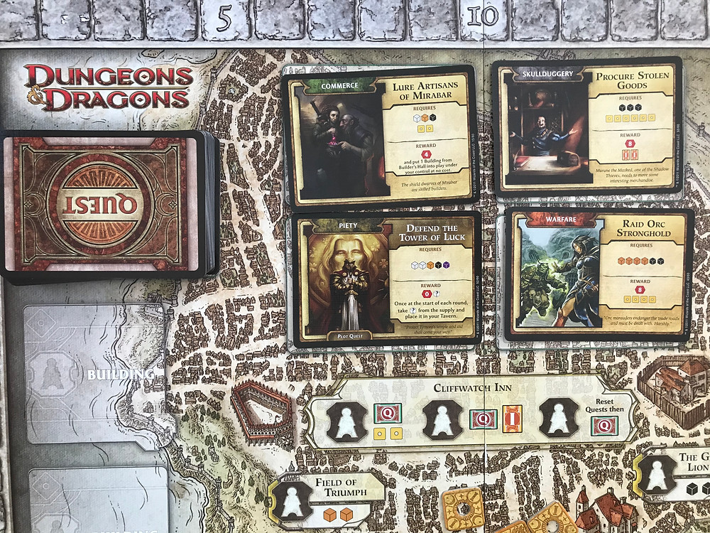 Close-up of the Quest section of Waterdeep's board.