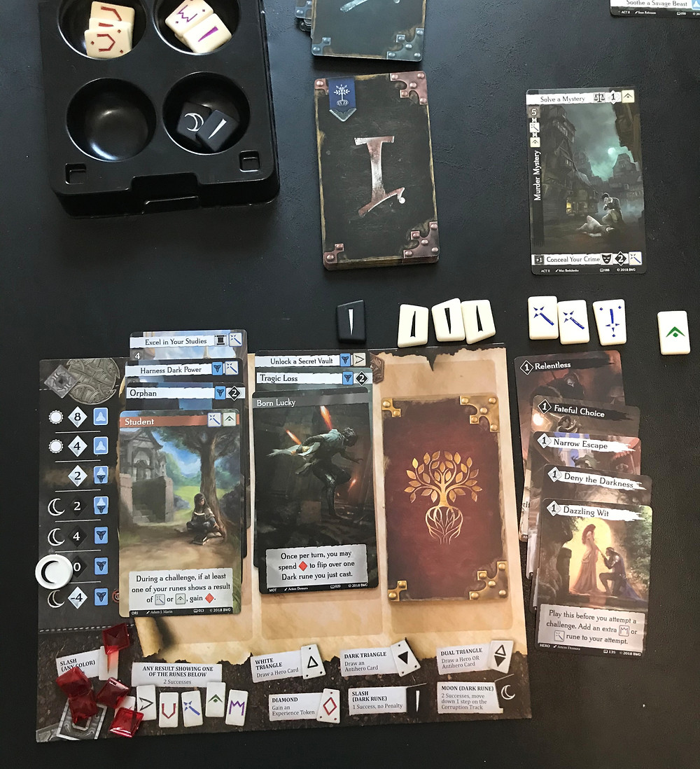 The rule book has a handy chart that calculates your expected number of successes given the total number of runes cast on a check. Turvain's expected value is 8.5 successes, and he only needs 6. But without the Dark Rune, his average is only 7, so he wants to lower the odds that this check fails.