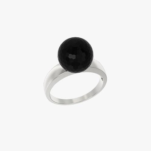 Кольцо Classic 0101, черный агат, 10