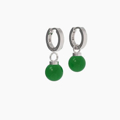 Серьги Basic 1205+замки 05, зеленый агат, 12