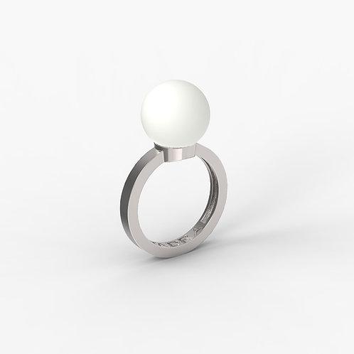 Кольцо Basic 5002, белый агат, 12