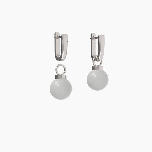 Серьги Basic 1203+замки 03, серый агат, 12