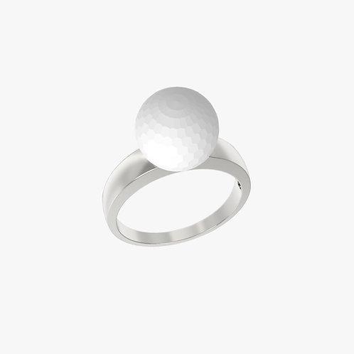 Кольцо Classic 0101, белый агат, 10