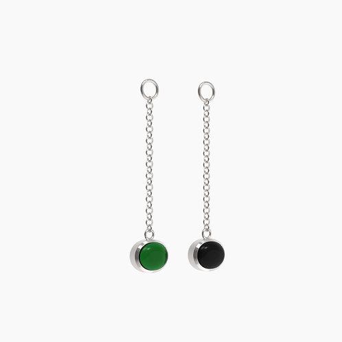 Подвески для серег Basic 1315, черный, зеленый агат, 8х10
