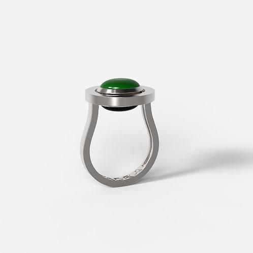 Кольцо Basic 5115, черный, зеленый агат, 8х10
