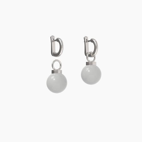 Серьги Basic 1203+замки 02, серый агат, 12