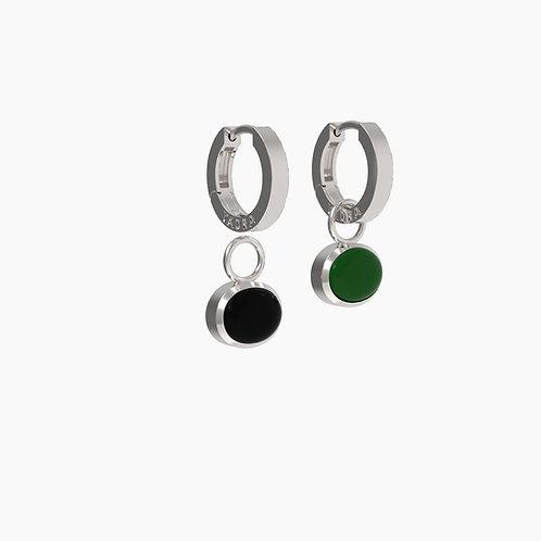 Серьги Basic 2315+замки 05, черный, зеленый агат, 8х10