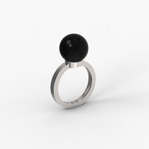 Кольцо Basic 5001, черный агат, 12