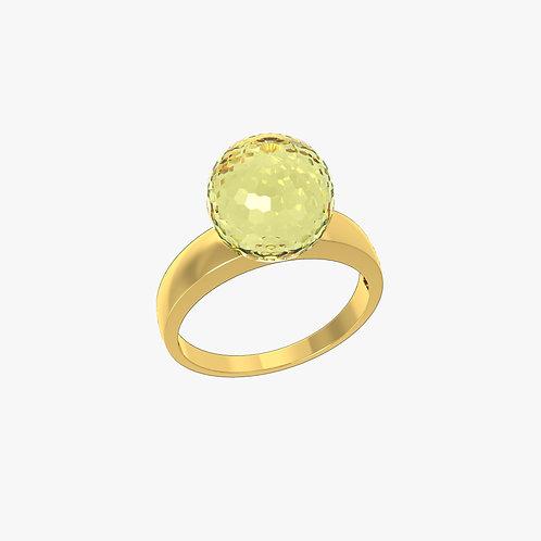 Кольцо Classic 0101, лимонный кварц, 10
