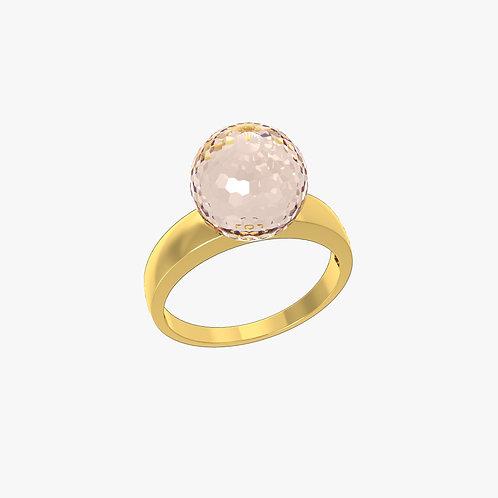 Кольцо Classic 0101, розовый кварц, 10