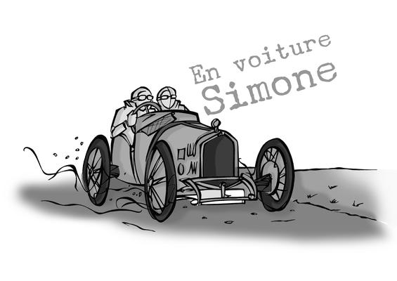 """Tirage signé série vintage:"""" En voiture Simone"""""""