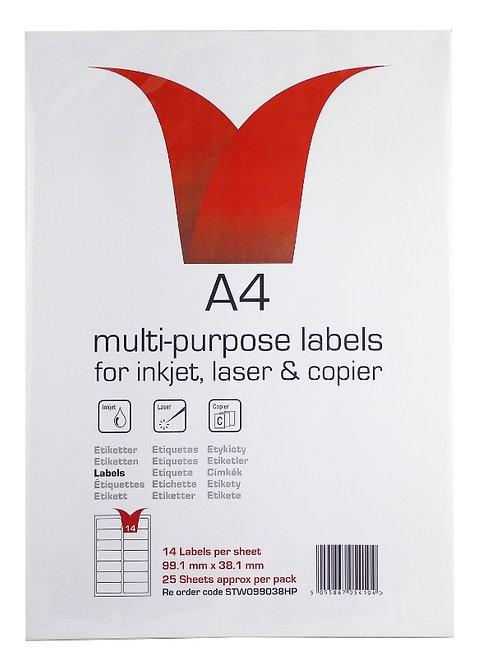 Multi Purpose SA Labels 25 A4 Sheets 14 Labels Per Sheet