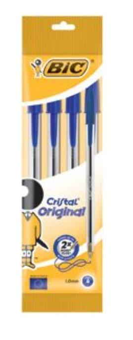 Bic Cristal Ball Pens Blue 4 Pack