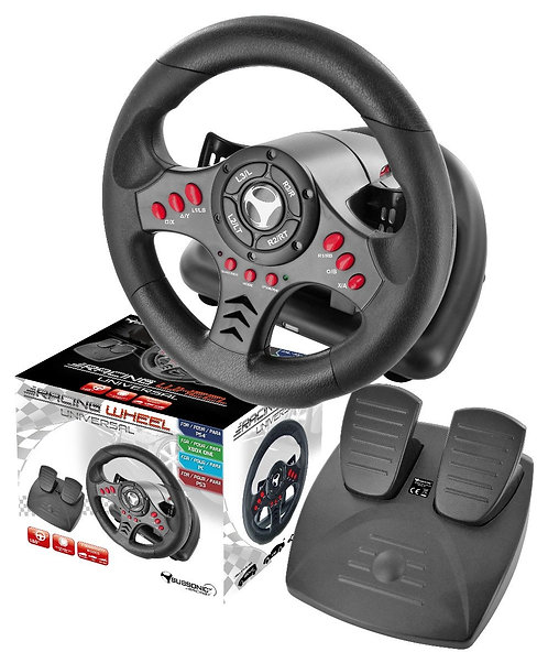 Subsonic Universal Steering Wheel & Pedals For Playstation 3 / 4, PS3 / PS4 and