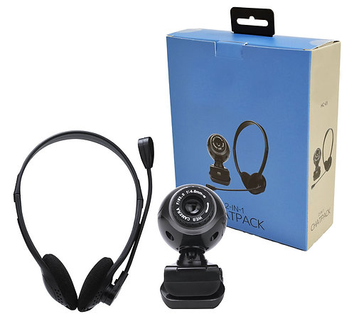 Webcam And Headset With Adjustable Microphone Bundle