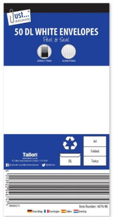 Just Stationery 50pk DL White Peel And Seal Envelopes