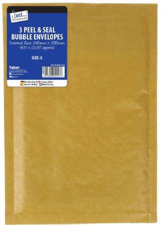 Just Stationery 3pk Bubble Padded Envelopes Size G
