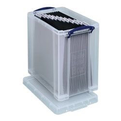 25 litre Really Useful Box with 10 12x12 inch suspension files (clear)