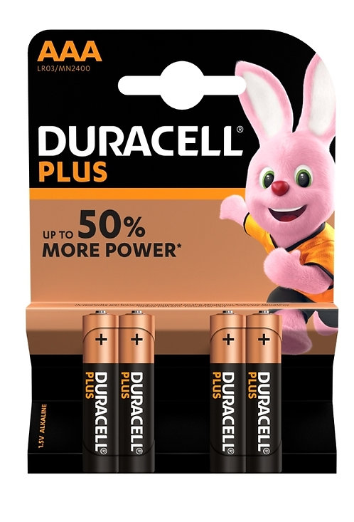 Duracell Plus AAA Alkaline Batteries 4pk