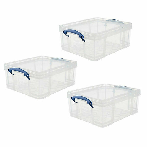 Really Useful Products 18L Clear Storage Box 3 Pack