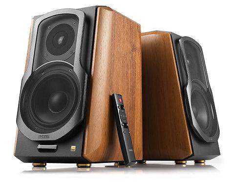 Edifier S1000MKII Hi-Res Audio Active Bluetooth Bookshelf Speaker Set - Brown