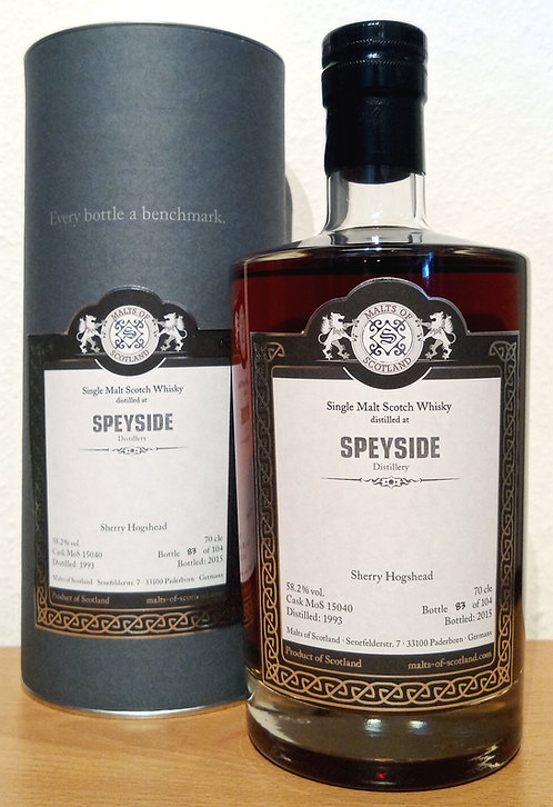 Speyside Distillery 1999 Malts of Scotland 22 Years old Sherry Cask 15040