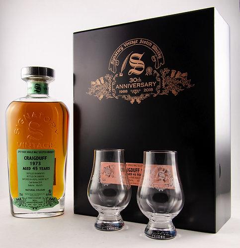 Craigduff 1973 / 2018 Signatory Vintage 30th Anniversary + 2 Gläser