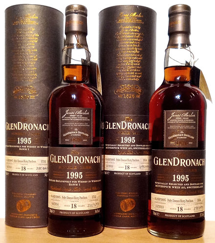 2 x Glendronach 1995 PX Sherry Puncheon 18 Jahre Cask 1654 + Cask 1732