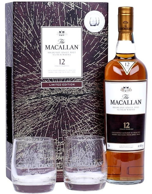 Macallan 12 Years old Sherry Oak Casks old + 2 Macallan Glasses Gift Pack