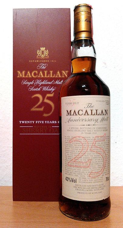 Macallan 25 Years The Anniversary Malt Sherry Oak + RED Wooden Box