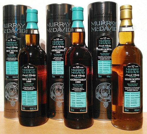 3 x Murray McDavid Silver Mission Glen Scotia, Ben Nevis, Auchentoshan