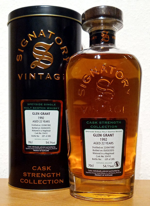 Glen Grant 1992 Signatory Vintage 22 years old Cask 55410 Strength Collection