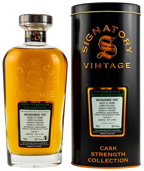Inchgower 1997 Signatory Vintage 22 Years old Cask 2 Strength Collection