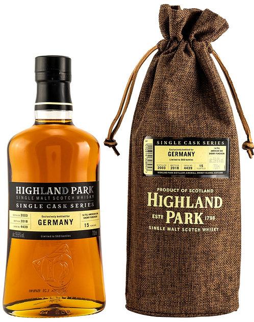 Highland Park 2003 Single Cask Series 15 Years old Fill American Oak Sherry Butt
