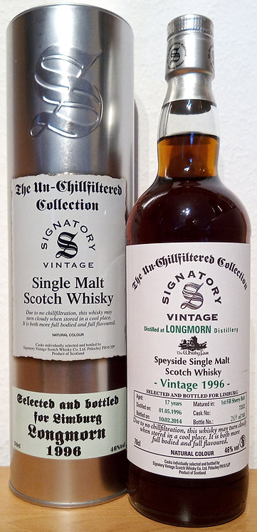 Longmorn 1996 Signatory Vintage 1st fill Sherry Butt 17 Years old Cask 72322