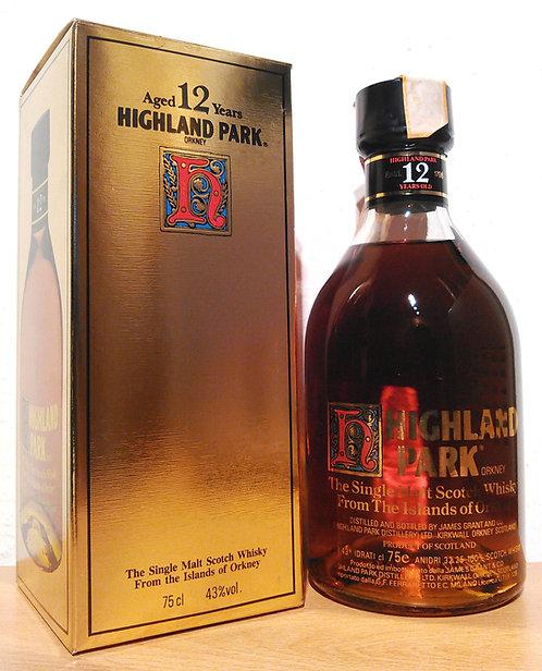 Highland Park 12 Years Oak Casks Dumpy Bottle printed Label