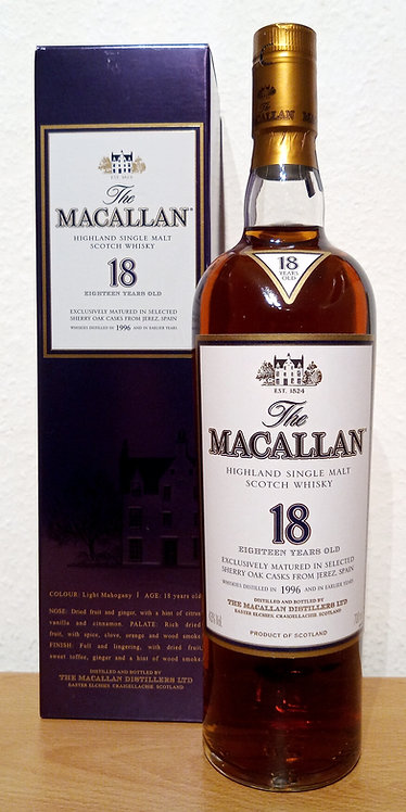 Macallan 18 Years old Vintage 1996 Sherry Oak Casks From Jerez Spain