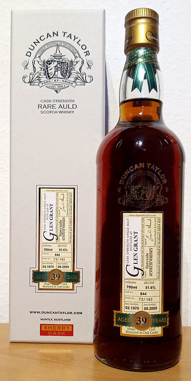 Glen Grant 1970 Bottled 2009 by Duncan Taylor 39 Years old Sherry Cask 844