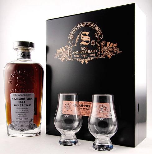 Highland Park 1991 / 2018 Signatory Vintage 30th Anniversary + 2 Gläser