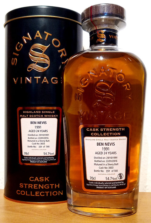 Ben Nevis 1991 Signatory Vintage 24 years old Cask 3833 Strength Collection