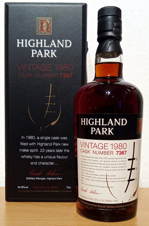 Highland Park Vintag 1980 Cask 7367 Limited Edition 23 Years old